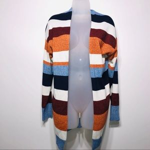 Long Sleeve Striped Multi-Colored Cardigan, Size L